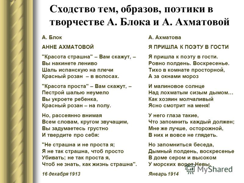 Сходство тем, образов, поэтики в творчестве А. Блока и А. Ахматовой А. Блок АННЕ АХМАТОВОЙ