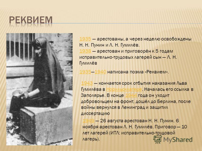 19351935 арестованы, а через неделю освобождены Н. Н. Пунин и Л. Н. Гумилёв. 19381938 арестован и приговорён к 5 годам исправительно-трудовых лагерей сын Л. Н. Гумилёв 193519351940 написана поэма «Реквием».1940 19431943 кончается срок отбытия наказан
