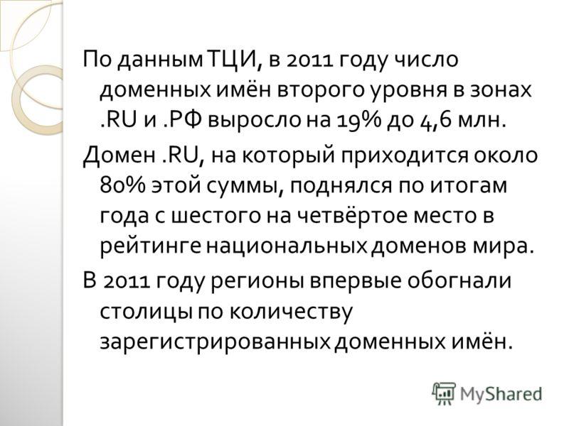 По данным ТЦИ, в 2011 году число доменных имён второго уровня в зонах.RU и. РФ выросло на 19% до 4,6 млн. Домен.RU, на который приходится около 80% этой суммы, поднялся по итогам года с шестого на четвёртое место в рейтинге национальных доменов мира.
