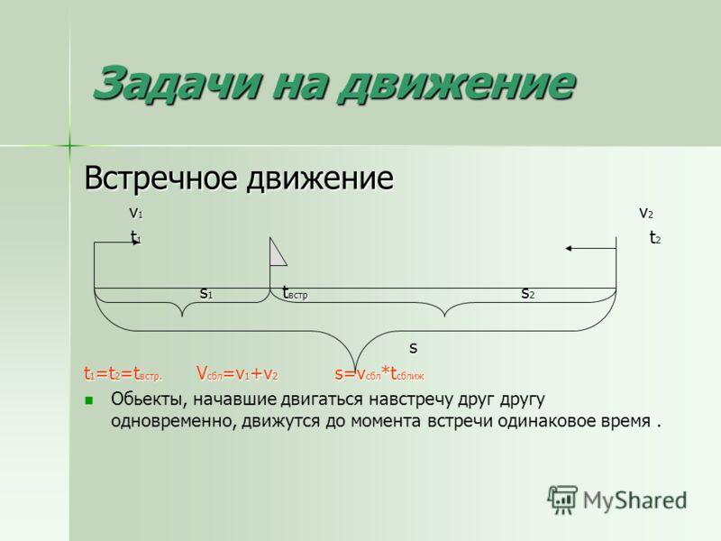 Задачи на движение Встречное движение v 1 v 2 v 1 v 2 t 1 t 2 t 1 t 2 s 1 t встр s 2 s 1 t встр s 2 s s t 1 =t 2 =t встр. V сбл =v 1 +v 2 s=v сбл *t сближ Обьекты, начавшие двигаться навстречу друг другу одновременно, движутся до момента встречи один