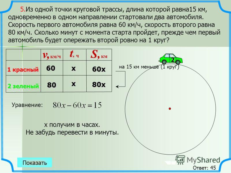 12 5.Из одной точки круговой трассы, длина которой равна15 км, одновременно в одном направлении стартовали два автомобиля. Скорость первого автомобиля равна 60 км/ч, скорость второго равна 80 км/ч. Сколько минут с момента старта пройдет, прежде чем п