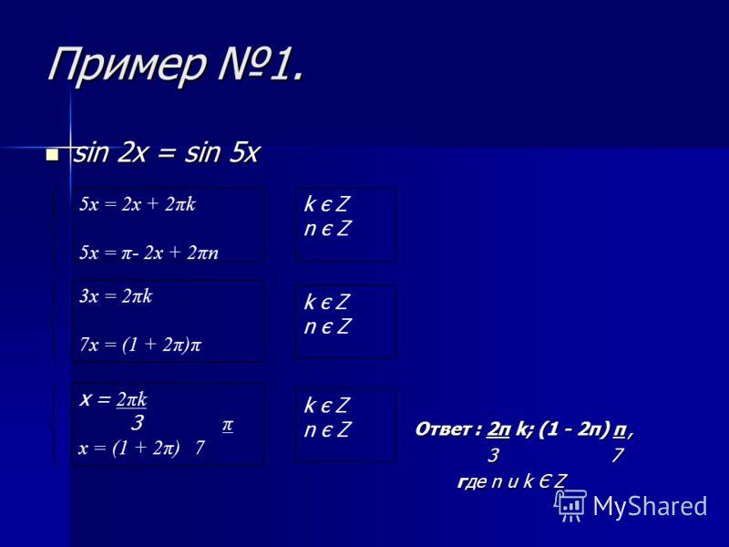 tg f(x) = tg φ(x) f(x) = φ(x) + πn φ(x) π + πl 2 n, l є Z n, l є Z