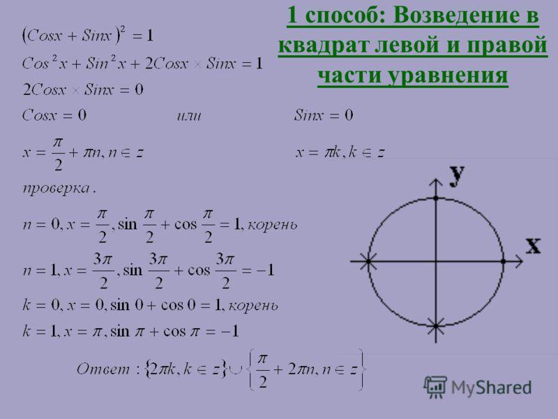 7 способов решения уравнения Sinx + Cosx = 1
