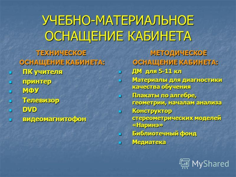 УЧЕБНО-МАТЕРИАЛЬНОЕ ОСНАЩЕНИЕ КАБИНЕТА ТЕХНИЧЕСКОЕ ОСНАЩЕНИЕ КАБИНЕТА: ОСНАЩЕНИЕ КАБИНЕТА: ПК учителя ПК учителя принтер принтер МФУ МФУ Телевизор Телевизор DVD DVD видеомагнитофон видеомагнитофон МЕТОДИЧЕСКОЕ МЕТОДИЧЕСКОЕ ОСНАЩЕНИЕ КАБИНЕТА: ОСНАЩЕН