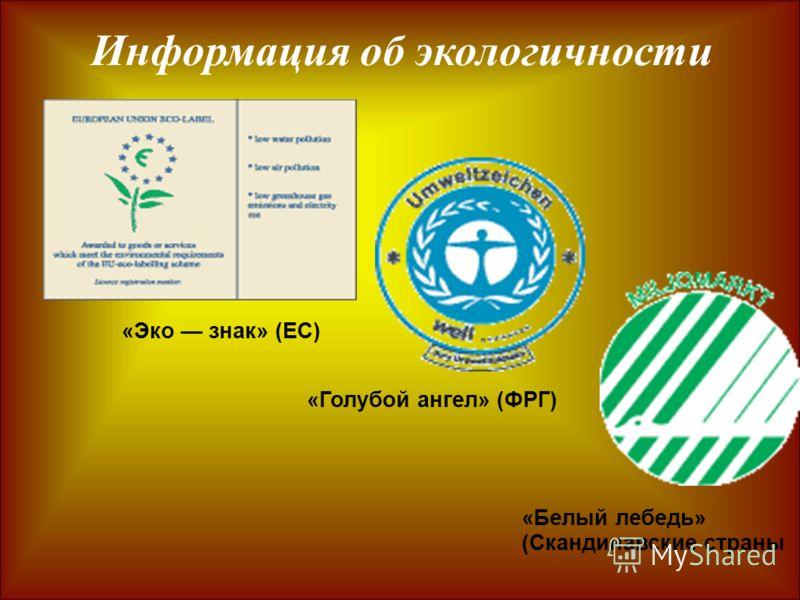Информация об экологичности «Эко знак» (ЕС) «Голубой ангел» (ФРГ) «Белый лебедь» (Скандинавские страны