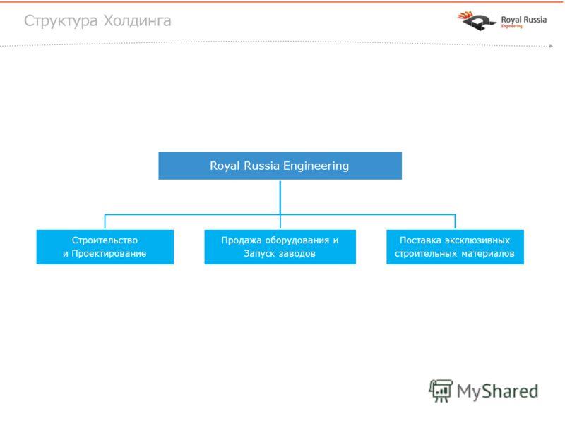 Royal Russia Engineering Строительство и Проектирование Продажа оборудования и Запуск заводов Поставка эксклюзивных строительных материалов Структура Холдинга