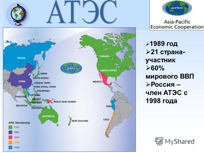 1989 год 21 страна- участник 60% мирового ВВП Россия – член АТЭС с 1998 года