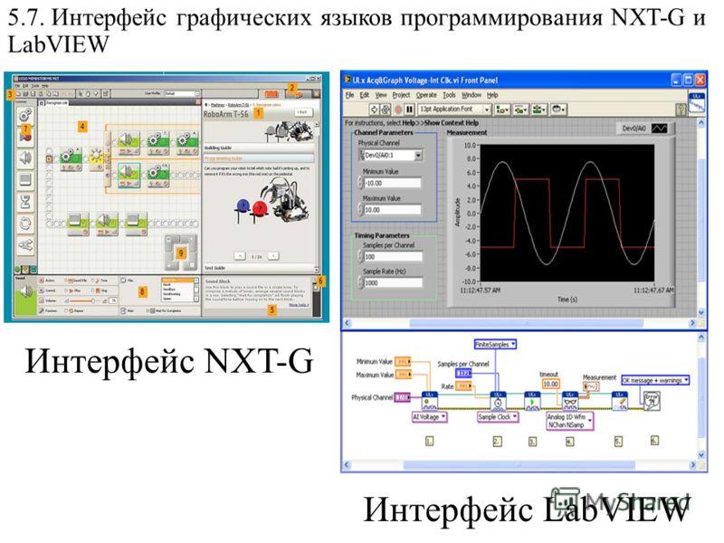 5.7. Интерфейс графических языков программирования NXT-G и LabVIEW Интерфейс LabVIEW Интерфейс NXT-G