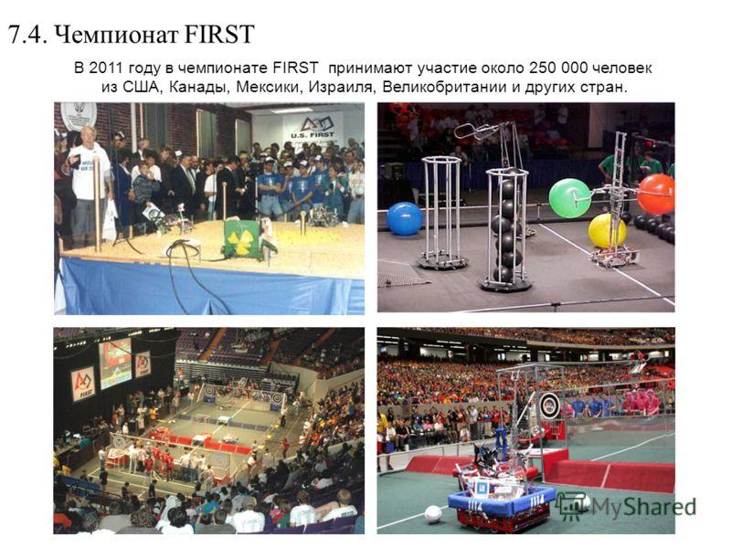 7.4. Чемпионат FIRST В 2011 году в чемпионате FIRST принимают участие около 250 000 человек из США, Канады, Мексики, Израиля, Великобритании и других стран.