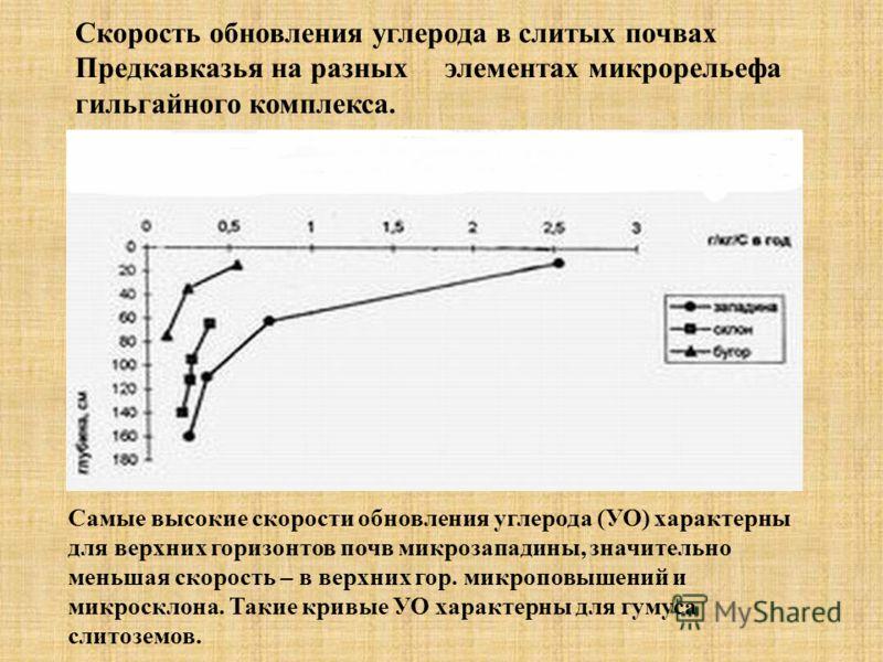 Скорость обновления углерода в слитых почвах Предкавказья на разных элементах микрорельефа гильгайного комплекса. Самые высокие скорости обновления углерода (УО) характерны для верхних горизонтов почв микрозападины, значительно меньшая скорость – в в