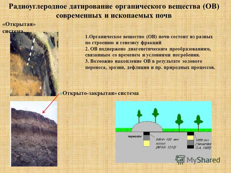 Радиоуглеродное датирование органического вещества (ОВ) современных и ископаемых почв 1.Органическое вещество (ОВ) почв состоит из разных по строению и генезису фракций 2. ОВ подвержено диагенетическим преобразованиям, связанным со временем и условия