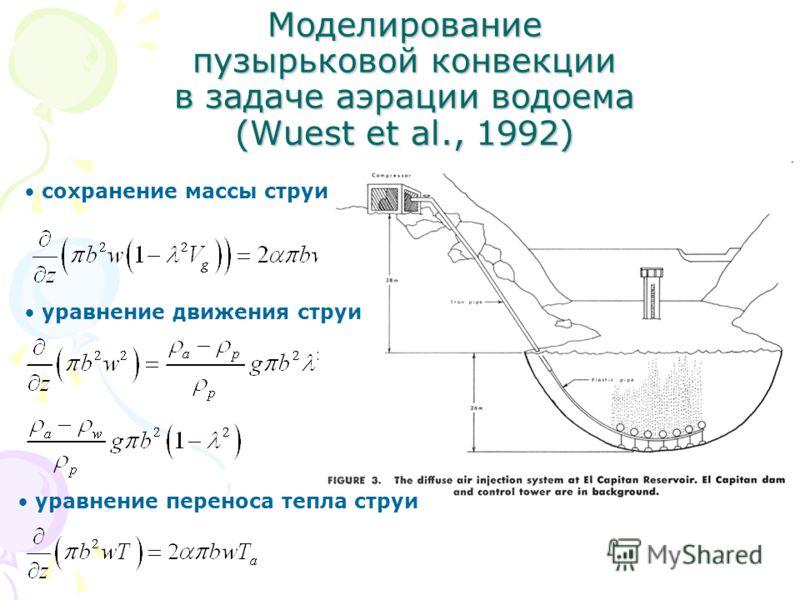 Моделирование пузырьковой конвекции в задаче аэрации водоема (Wuest et al., 1992) сохранение массы струи уравнение движения струи уравнение переноса тепла струи