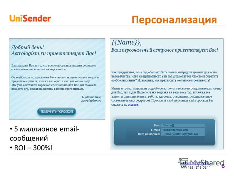 6 www.UniSender.ru +7 (499) 346-0344 Персонализация 5 миллионов email- сообщений ROI – 300%!