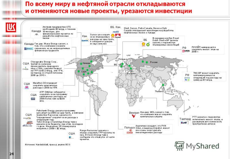 [6/20/2013 5:28 PM] 24 По всему миру в нефтяной отрасли откладываются и отменяются новые проекты, урезаются инвестиции