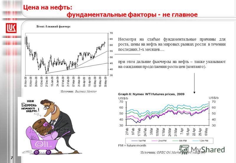 [6/20/2013 5:28 PM] 7 Цена на нефть: фундаментальные факторы - не главное Brent: ближний фьючерс Источник: Business Monitor Источник: OPEC Oil Market Report, май 2009 Несмотря на слабые фундаментальные причины для роста, цены на нефть на мировых рынк