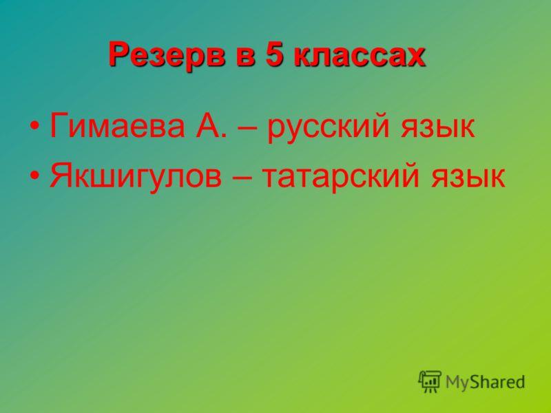 Гимаева А. – русский язык Якшигулов – татарский язык Резерв в 5 классах