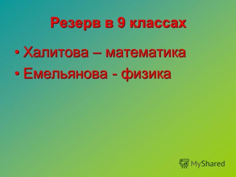 Резерв в 9 классах Халитова – математикаХалитова – математика Емельянова - физикаЕмельянова - физика
