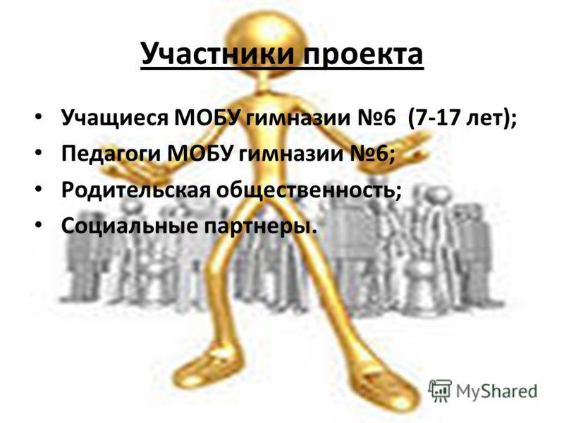 Участники проекта Учащиеся МОБУ гимназии 6 (7-17 лет); Педагоги МОБУ гимназии 6; Родительская общественность; Социальные партнеры.
