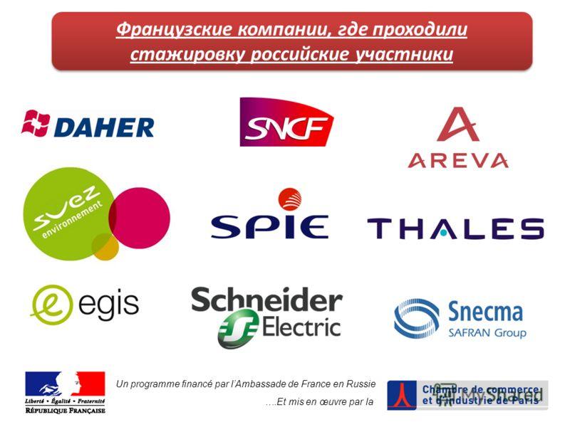 Un programme financé par lAmbassade de France en Russie ….Et mis en œuvre par la Французские компании, где проходили стажировку российские участники