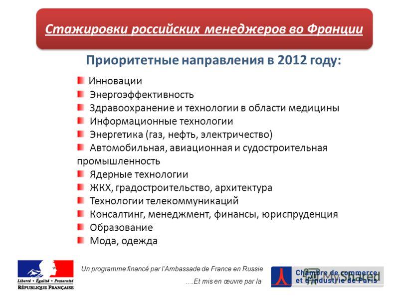 Стажировки российских менеджеров во Франции Приоритетные направления в 2012 году: Инновации Энергоэффективность Здравоохранение и технологии в области медицины Информационные технологии Энергетика (газ, нефть, электричество) Автомобильная, авиационна