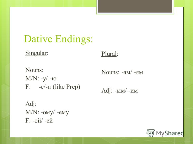 Dative Endings: Singular: Nouns: M/N: -y/ -ю F: -e/-и (like Prep) Adj: M/N: -ому/ -ему F: -ой/ -ей Plural: Nouns: -ам/ -ям Adj: -ым/ -им