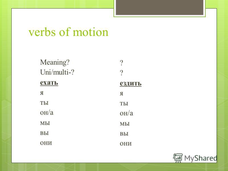 verbs of motion Meaning? Uni/multi-? ехать я ты он/а мы вы они ? ездить я ты он/а мы вы они