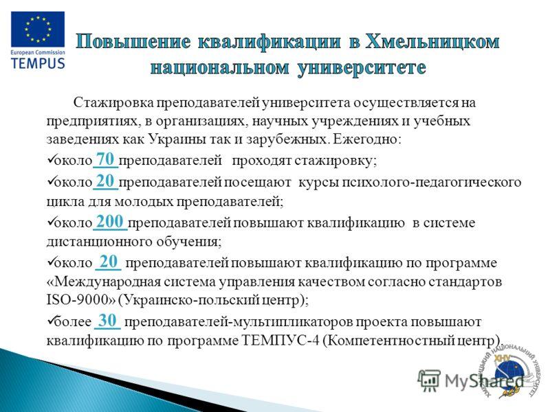 Стажировка преподавателей университета осуществляется на предприятиях, в организациях, научных учреждениях и учебных заведениях как Украины так и зарубежных. Ежегодно: около 70 преподавателей проходят стажировку; около 20 преподавателей посещают курс