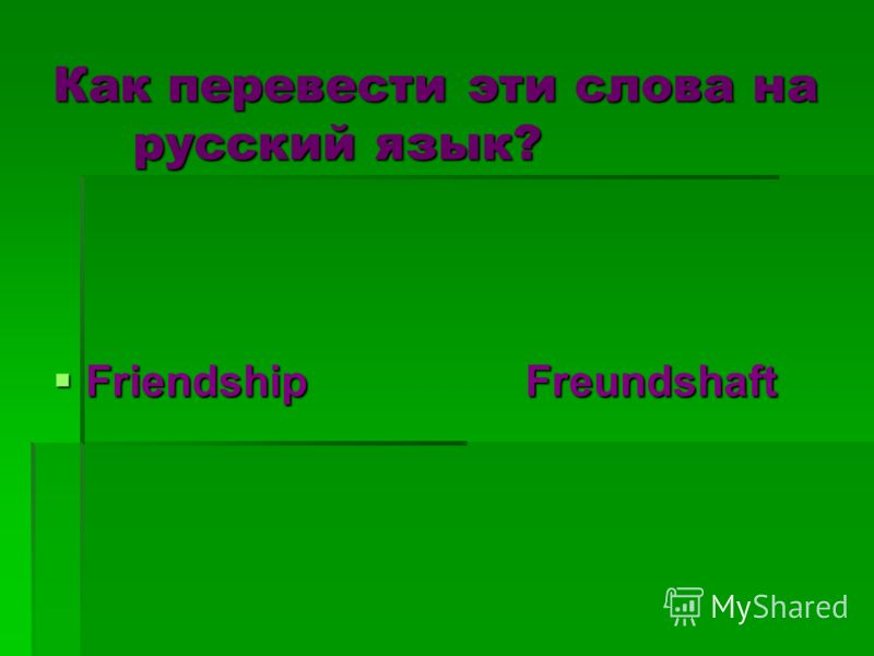 Как перевести эти слова на русский язык? Friendship Freundshaft Friendship Freundshaft