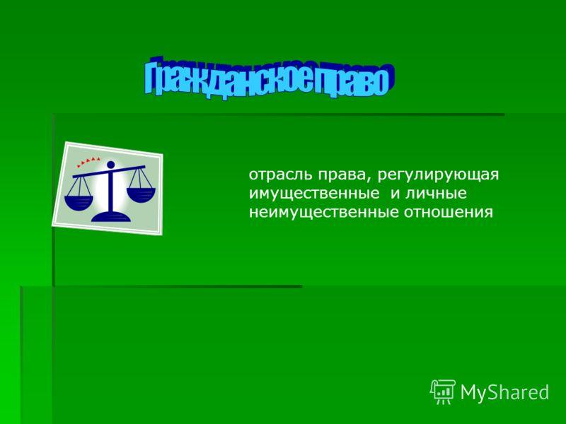 отрасль права, регулирующая имущественные и личные неимущественные отношения