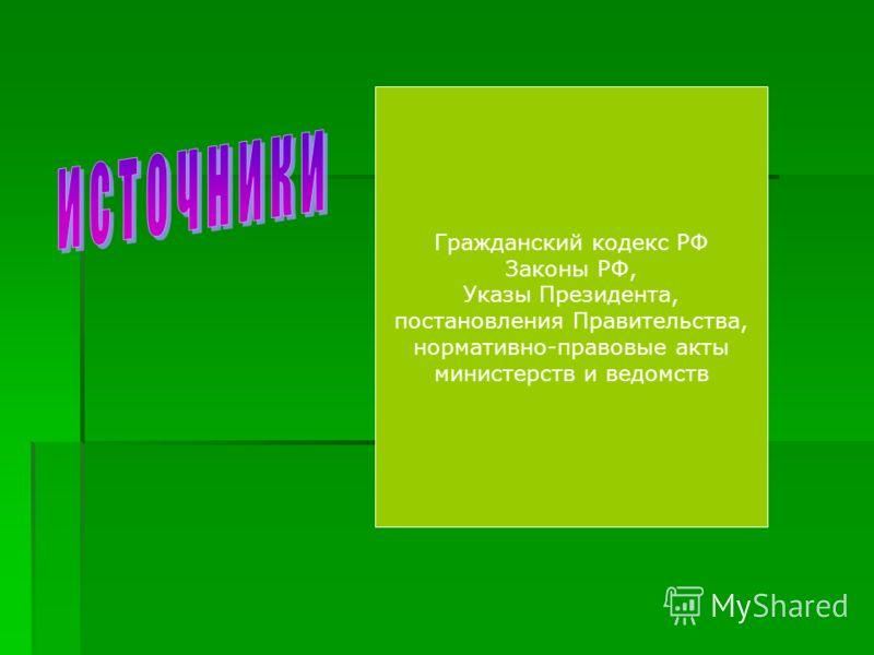 Гражданский кодекс РФ Законы РФ, Указы Президента, постановления Правительства, нормативно-правовые акты министерств и ведомств
