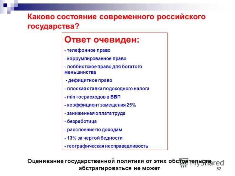 82 Каково состояние современного российского государства? Ответ очевиден: - телефонное право - коррумпированное право - лоббистское право для богатого меньшинства - дефицитное право - плоская ставка подоходного налога - min госрасходов в ВВП - коэффи