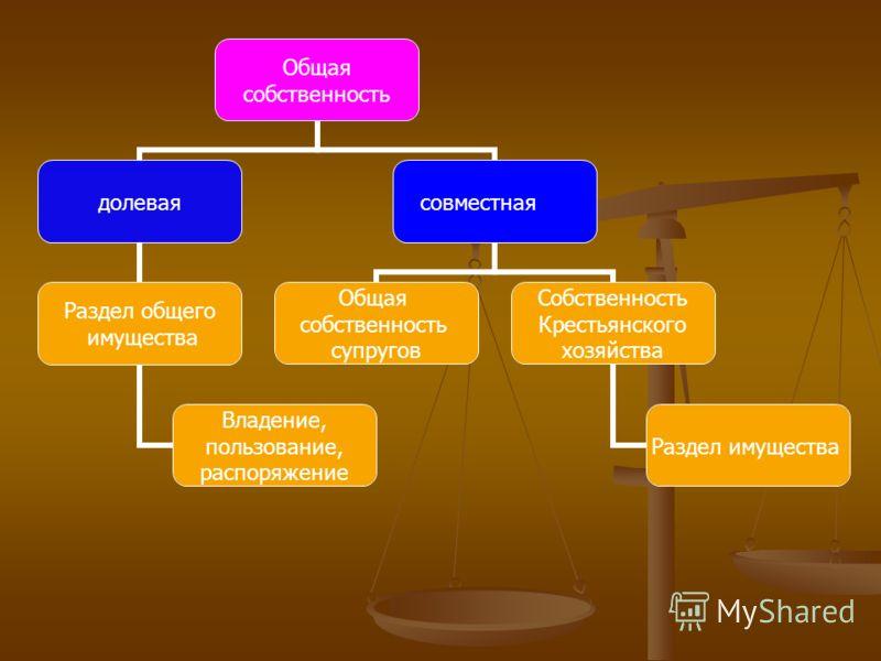 Общая собственность долевая Раздел общего имущества Владение, пользование, распоряжение совместная Общая собственность супругов Собственность Крестьянского хозяйства Раздел имущества