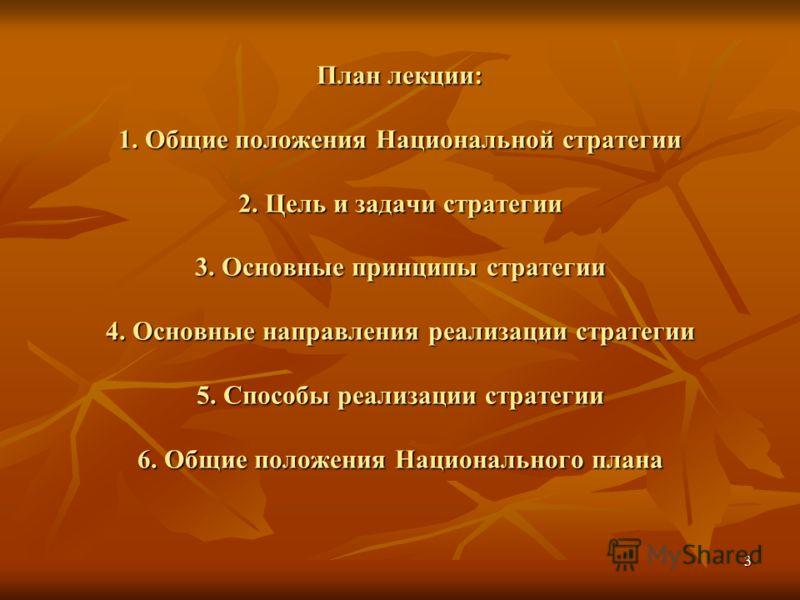 3 План лекции: 1. Общие положения Национальной стратегии 2. Цель и задачи стратегии 3. Основные принципы стратегии 4. Основные направления реализации стратегии 5. Способы реализации стратегии 6. Общие положения Национального плана