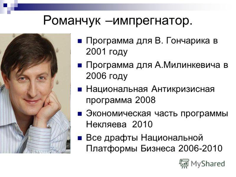 Романчук –импрегнатор. Программа для В. Гончарика в 2001 году Программа для А.Милинкевича в 2006 году Национальная Антикризисная программа 2008 Экономическая часть программы Некляева 2010 Все драфты Национальной Платформы Бизнеса 2006-2010