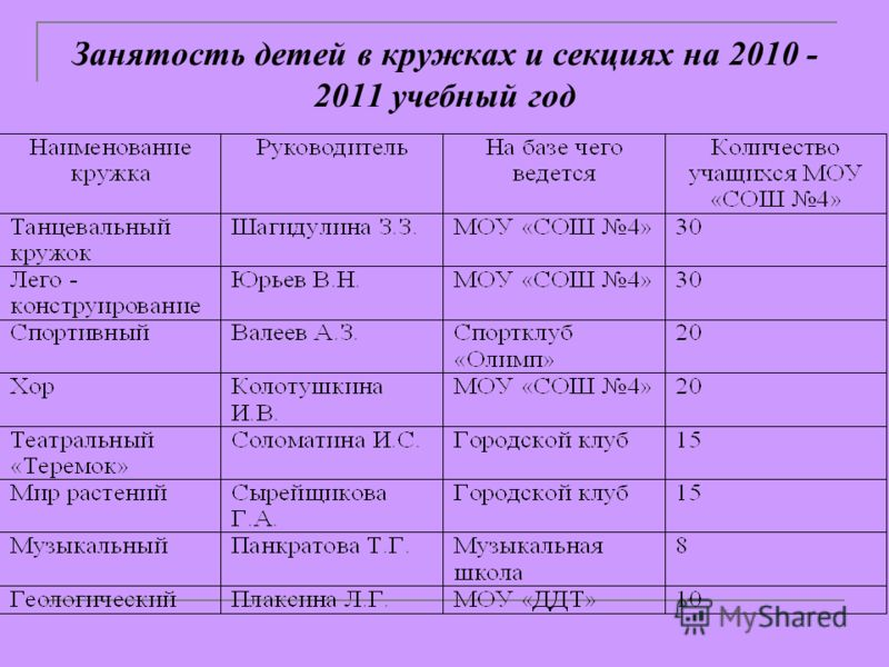 Занятость детей в кружках и секциях на 2010 - 2011 учебный год