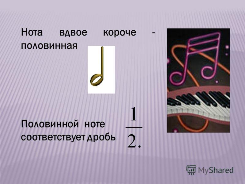 Нота вдвое короче - половинная Половинной ноте соответствует дробь