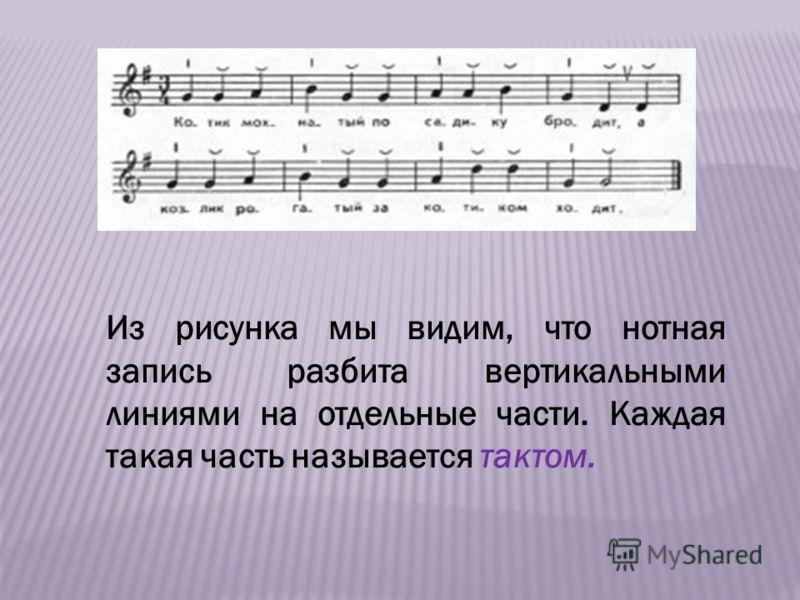 Из рисунка мы видим, что нотная запись разбита вертикальными линиями на отдельные части. Каждая такая часть называется тактом.