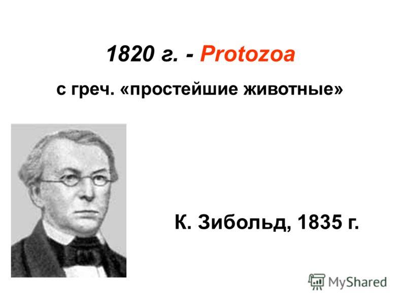 1820 г. - Protozoa с греч. «простейшие животные» К. Зибольд, 1835 г.