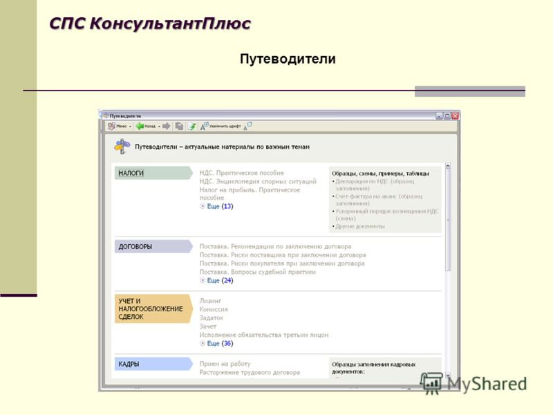 Путеводители СПС КонсультантПлюс
