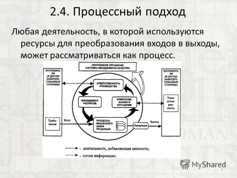 2.4. Процессный подход Любая деятельность, в которой используются ресурсы для преобразования входов в выходы, может рассматриваться как процесс. 7