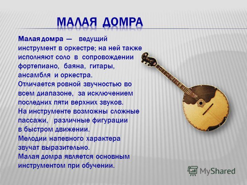 Малая домра ведущий инструмент в оркестре; на ней также исполняют соло в сопровождении фортепиано, баяна, гитары, ансамбля и оркестра. Отличается ровной звучностью во всем диапазоне, за исключением последних пяти верхних звуков. На инструменте возмож