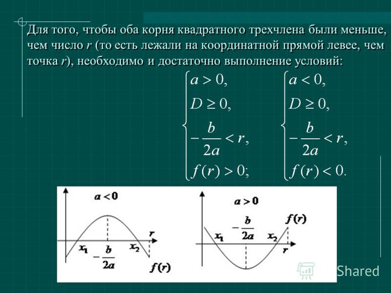 Для того, чтобы оба корня квадратного трехчлена были меньше, чем число r (то есть лежали на координатной прямой левее, чем точка r), необходимо и достаточно выполнение условий: