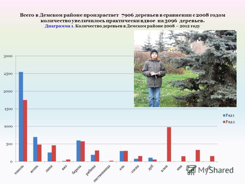 Всего в Демском районе произрастает 7906 деревьев в сравнении с 2008 годом количество увеличилось практически вдвое на 3096 деревьев. Диаграмма 1. Количество деревьев в Демском районе 2008 – 2012 году
