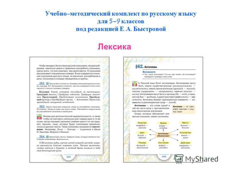 Учебно-методический комплект по русскому языку для 5–9 классов под редакцией Е.А. Быстровой Лексика