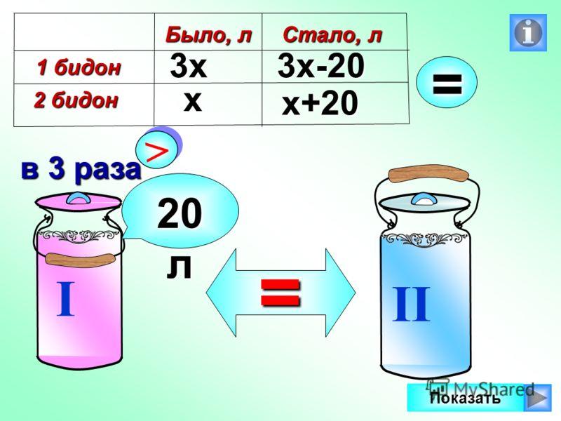 В первом бидоне в 3 раза больше молока, чем во втором. Если из первого перелить 20 л во второй, то молока в бидонах будет поровну. Сколько литров молока в каждом бидоне? I II > > в 3 раза 20 л = Показать 1321