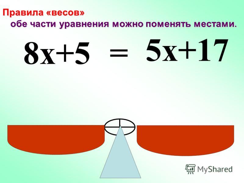 Что можно снять с каждой чаши, не нарушая равновесия? Какое равенство мы получим?