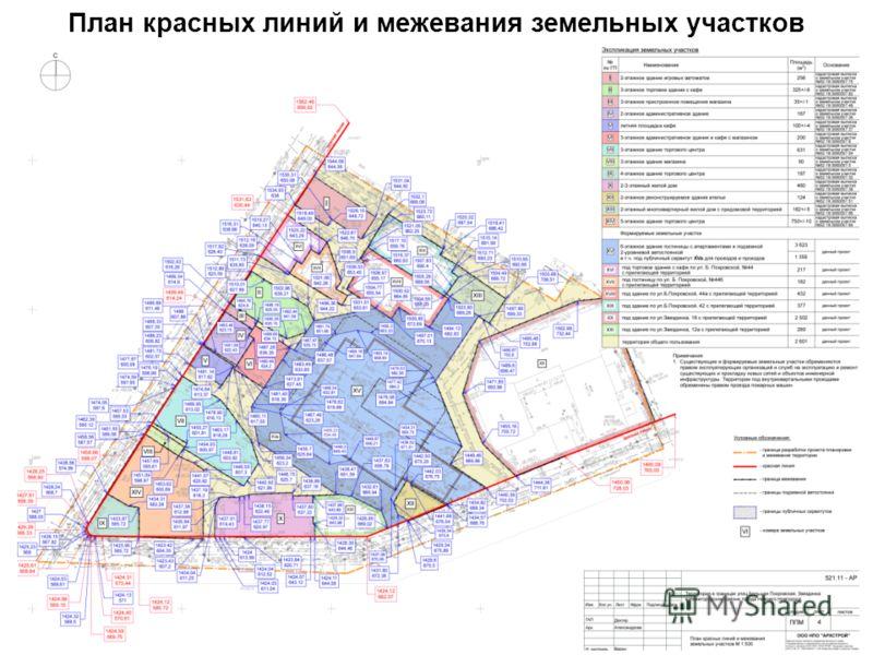 План красных линий и межевания земельных участков
