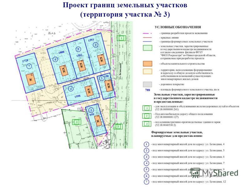 Проект границ земельных участков (территория участка 3)