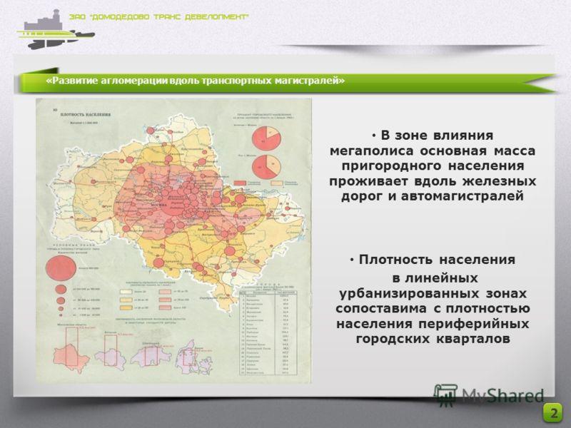 «Развитие агломерации вдоль транспортных магистралей» 2 В зоне влияния мегаполиса основная масса пригородного населения проживает вдоль железных дорог и автомагистралей Плотность населения в линейных урбанизированных зонах сопоставима с плотностью на
