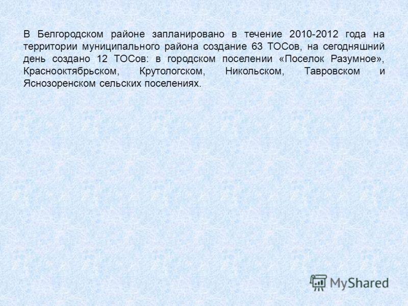 В Белгородском районе запланировано в течение 2010-2012 года на территории муниципального района создание 63 ТОСов, на сегодняшний день создано 12 ТОСов: в городском поселении «Поселок Разумное», Краснооктябрьском, Крутологском, Никольском, Тавровско